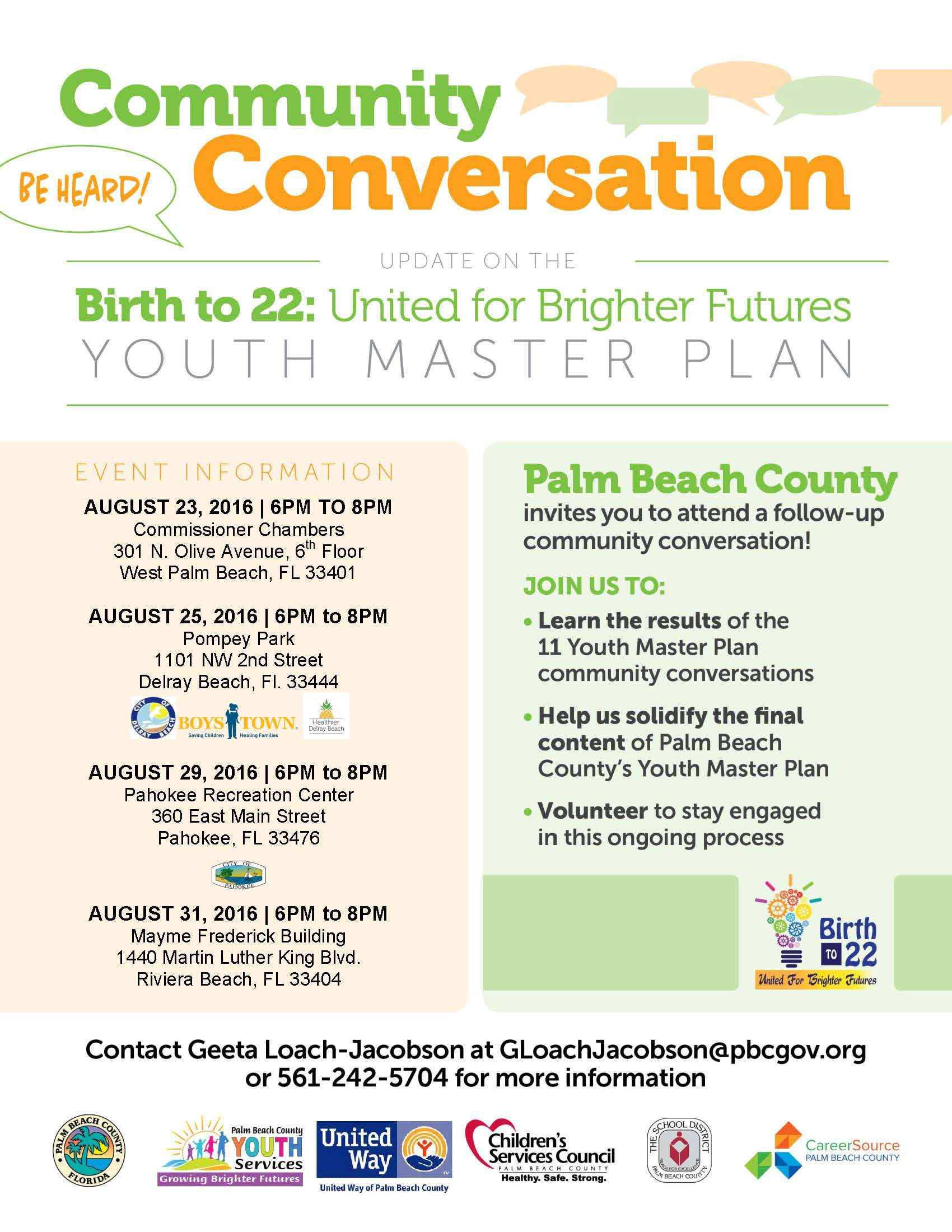Community Conversation: Youth Master Plan @ Mayme Frederick Building | West Palm Beach | Florida | United States