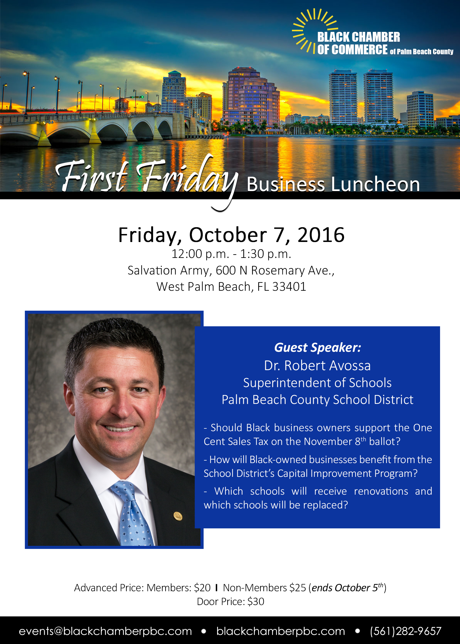 First Friday Business Luncheon: Dr. Robert Avossa @ Salvation Army  | West Palm Beach | Florida | United States
